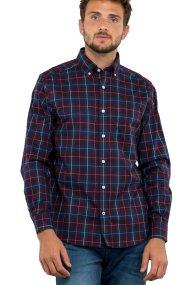 Nautica ανδρικό πουκάμισο Long sleeve classic fit plaid stretch poplin - W83312 - Μπορντό