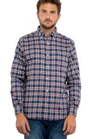 Nautica ανδρικό πουκάμισο Long sleeve classic fit plaid tencel - W83318 - Μπλε Σκούρο