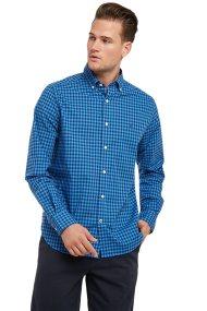 Nautica ανδρικό καρό πουκάμισο με μακρύ μανίκι Navtech Gingham - W83930 - Μπλε