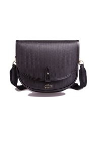 Γυναικεία τσάντα Piqué Leather Flap Crossover Bag Lacoste - NF2117CE - Μαύρο