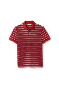 Ανδρική μπλούζα polo πικέ με ρίγες Lacoste - PH3154 - Κόκκινο