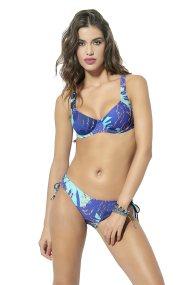 Γυναικείο μαγιό μπικίνι με floral print Cup D Club Neuf - CNM800145 - Μπλε