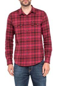 Lee ανδρικό πουκάμισο Rider Shirt Rhubarb Red - L856ZDGB - Κόκκινο
