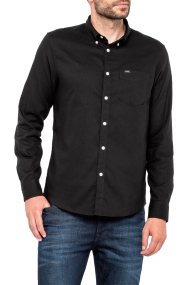 Lee ανδρικό πουκάμισο Button Down Shirt Pitch Black - L880ZLEM - Μαύρο