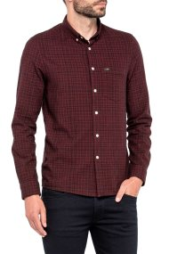 Lee ανδρικό πουκάμισο Slim Button Down Shirt Rhubarb Red - L66XZHGB - Μπορντό