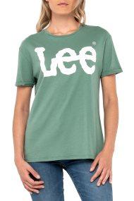 Lee γυναικεία μπλούζα Logo Tee Dark Ivy - L40LEPKJ - Βεραμάν