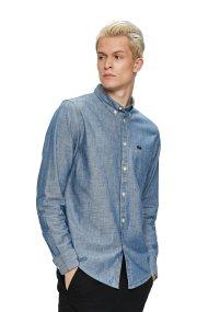 Lee ανδρικό πουκάμισο Button Down Shirt Sky Blue - L880KYEQ - Γκρι Γαλάζιο