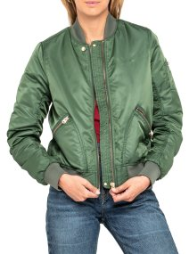 Lee γυναικείο bomber jacket Sateen Bomber Storm Green - L56KMJKE - Λαδί