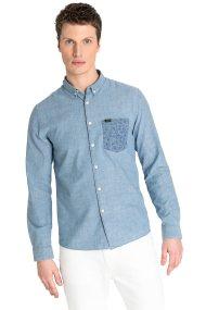 Lee ανδρικό πουκάμισο Slim fit με λεπτομέρεια στην τσέπη - L66XWALH - Γαλάζιο