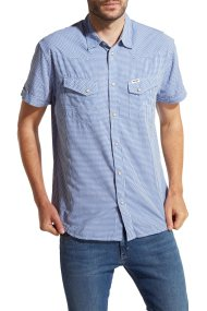 Ανδρικό πουκάμισο Shortsleeve Western Wrangler - W58734MJY - Μπλε