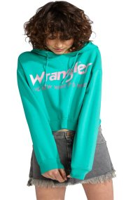 Γυναικεία μπλούζα Crop Hoodie Wrangler - W6068IGWB - Πράσινο