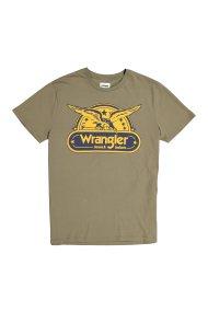 Wrangler ανδρικό T-shirt SS Eagle Tee με vintage λογότυπο - W7B74FK45 - Λαδί