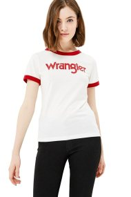 Wranglerγυναικείο T-shirtRinger Tee Offwhite - W7385G202 - Υπόλευκο