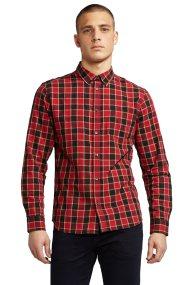 Wrangler ανδρικό πουκάμισο Long Sleeve One Pocket Button Down Shirt Salsa Red - W5874NQWN - Κόκκινο