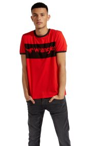 WranglerανδρικόT-shirtLogo Ringer Tee High Risk - W7B68FQ1P - Κόκκινο