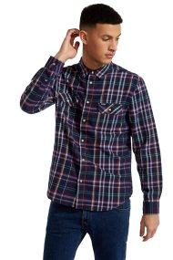 Wrangler ανδρικό πουκάμισοLong Sleeve Two PocketFlap Shirt Navy - W5982T235 - Μπλε