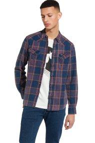 Wrangler ανδρικό πουκάμισο Long Sleeve WesternShirt Purple Pennant - W5716STWT - Μοβ