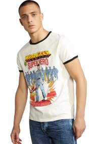 WranglerανδρικόT-shirt Ringer Hero TeeVaporous Gray - W7B79FKWV - Λευκό