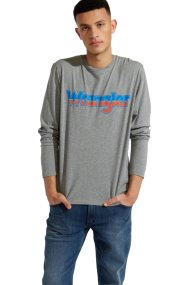 Wranglerανδρική μπλούζα Long Sleeve LogoTeeGrey Marl - W7A85D3VB - Γκρι