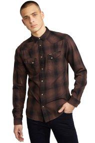 Wrangler ανδρικό πουκάμισο Long Sleeve Western Shirt Chocolate - W57163NVM - Καφέ