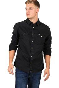 Wrangler ανδρικό πουκάμισο Western Denim Shirt Dark Used - W5973NZZ3 - Μαύρο