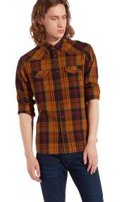 Wrangler ανδρικό πουκάμισο Western Golden Brown - W5973TLVQ - Κεραμιδί