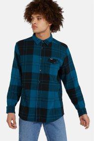 Wrangler ανδρικό καρό πουκάμισο με μία flap τσέπη LS 1PKT - W5A4SNB05 - Μπλε