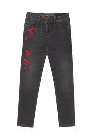 Desigual γυναικείο τζιν παντελόνι με απλικέ λουλούδια Sakura - 18WWDD45 - Μαύρο