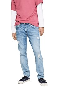 Pepe Jeans ανδρικό τζην παντελόνι used effect Zinc L32 - PM201519WY62 - Γαλάζιο