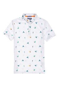 Ανδρική μπλούζα City All Over Print Polo Shirt Superdry - M11019TQF1 - Λευκό