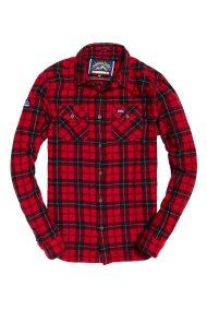 Superdry ανδρικό πουκάμισο μακρυμάνικο Rookie Ridge - M50000KR - Κόκκινο