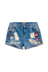 Γυναικείο σορτς με patches Steph Boyfriend Shorts Superdry - G71004YQF1NK5 - Μπλε