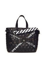f259f75035 Roccobarocco γυναικεία τσάντα χειρός καπιτονέ με τρέσες και αλυσίδα -  01GRBBS18O01 FO - Μαύρο