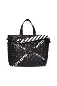 Roccobarocco γυναικεία τσάντα χειρός καπιτονέ με τρέσες και αλυσίδα - 01GRBBS18O01/FO - Μαύρο