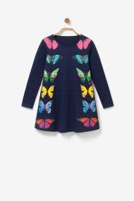 Desigual παιδικό μακρυμάνικο φόρεμα με print πεταλούδες - 19WGVK14 - Μπλε Σκούρο