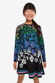 Desigual παιδικό floral φόρεμα Saltillo - 19WGVK17 - Μαύρο