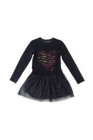 Desigual παιδικό φόρεμα με κέντημα και τούλι - 19WGVK37 - Μπλε Σκούρο