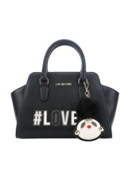 Love Moschino γυναικεία τσάντα χειρός με patches και διακοσμητικό μπρελόκ - JC4070PP16LK0 - Μαύρο