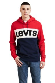 Levi's ανδρικό φούτερ με κουκούλα Colorblock - 5661300-00 - Κόκκινο