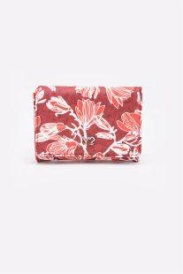 Γυναικείο πορτοφόλι με floral print 14 χ 10 χ 3 εκ. Y Not? - SO46 - Κόκκινο