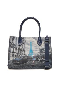 Ynot? γυναικεία τσάντα χειρός με all-over print - K-376 - Μπλε Σκούρο