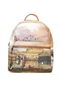 Ynot? γυναικείο backpack με all-over print και εξωτερική τσέπη - K-381 - Ταμπά
