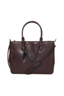 Ynot? γυναικεία τσάντα χειρός μονόχρωμη με διακοσμητική αλυσίδα - SAF03 - Καφέ