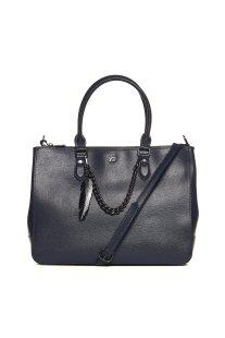 Ynot? γυναικεία τσάντα χειρός μονόχρωμη με διακοσμητική αλυσίδα - SAF03 - Μπλε Σκούρο