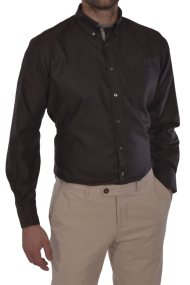 Dur ανδρικό πουκάμισο Oxford Slim fit - 10020650 - Καφέ