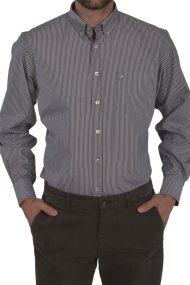 Dur ανδρικό πουκάμισο ριγέ button down - 10020652 - Γκρι