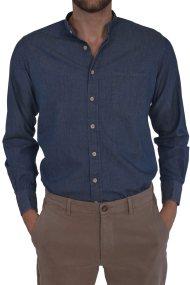 Dur ανδρικό τζην πουκάμισο με γιακά μάο - 10020649 - Μπλε