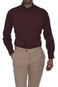 Dur ανδρικό πουκάμισο πικέ Slim fit - 10020631 - Μπορντό