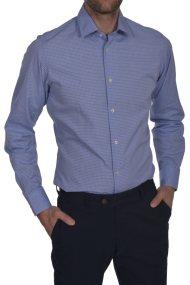 Dur ανδρικό πουκάμισο καρό Slim fit - 10210037 - Γαλάζιο