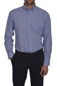 Dur ανδρικό καρό πουκάμισο κανονική γραμμή - 10210041 - Μπλε Ανοιχτό